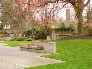 Green space in Halprin's Freeway Park.