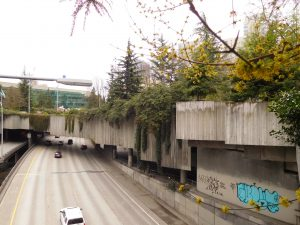 Halprin's Freeway Park stretching over the highway in Seattle
