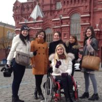Group of architecture students in front of a historic building in Moscow.