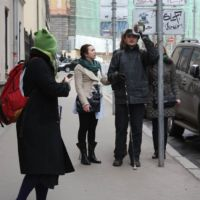 Group of students and a user expert encounter a sign that is a protruding object.