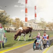 Architectural rending of an accessible Moscow that blends the rural and urban aspects of Russia.