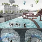 Architectural rendering of an accessible waterway in Moscow.