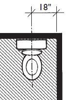 """architectural drawing of toilet with CL 18"""""""