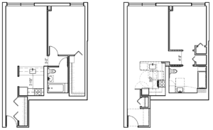 side-by-side unit floor plans