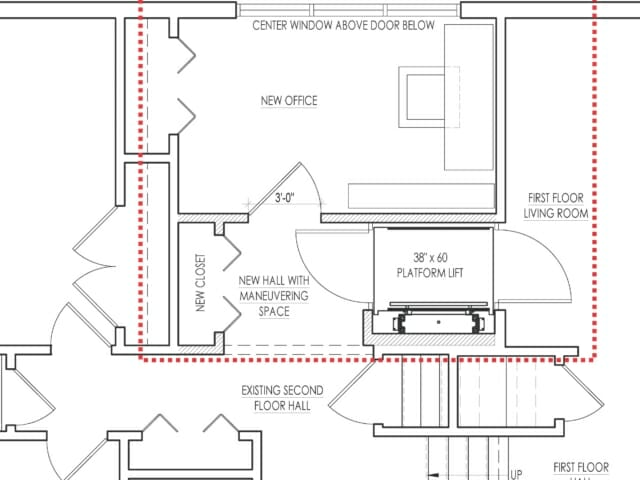 first floor plan with renovation areas in red box