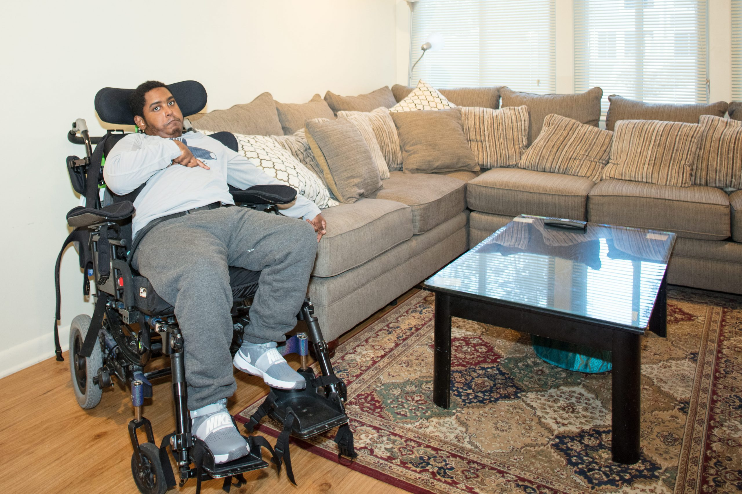 Abbi reclining in his chair