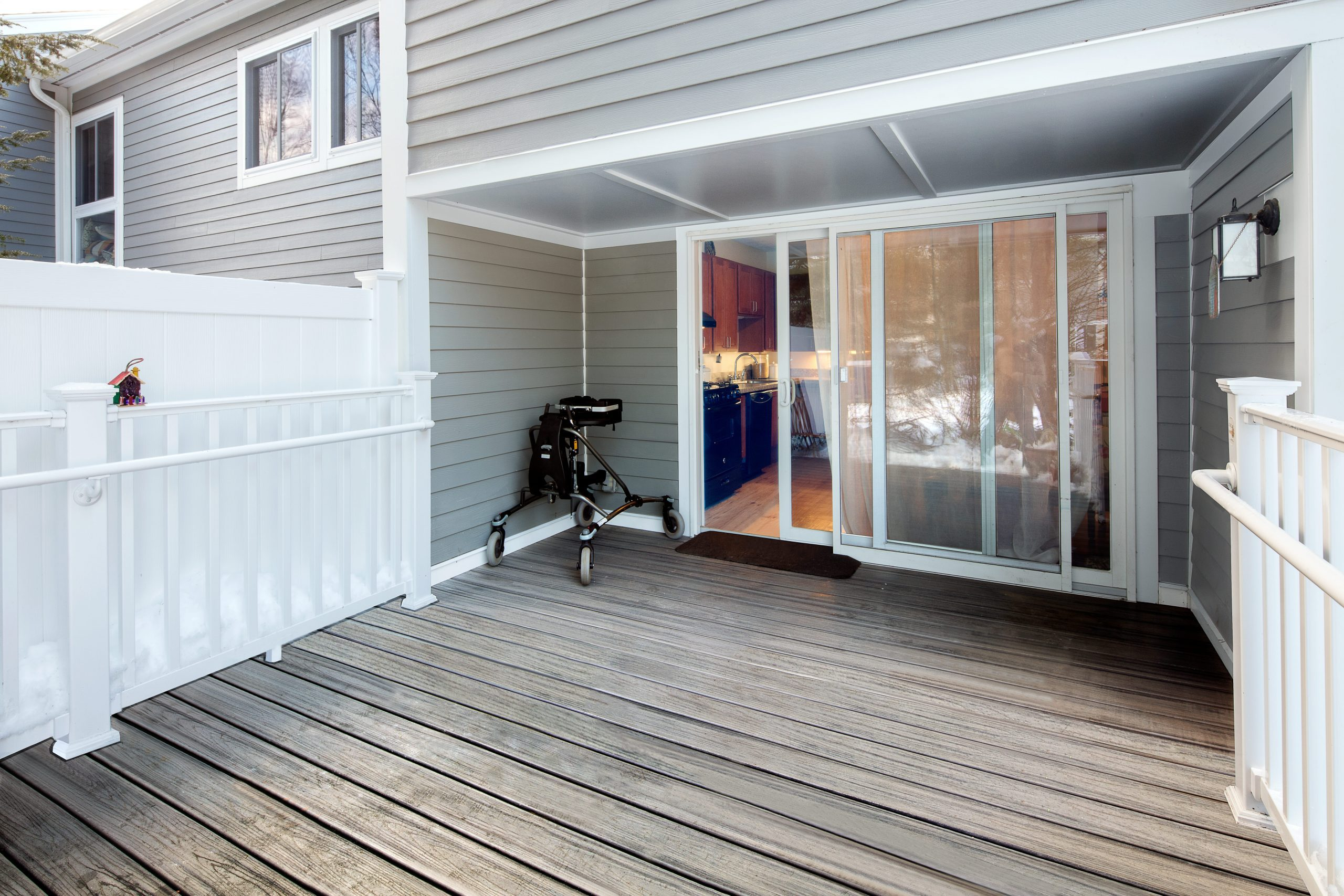 view of the back porch with an accessible threshold