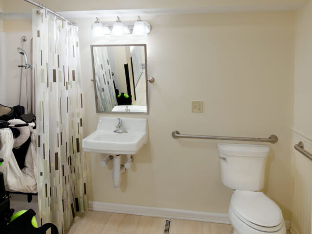 view into accessible bathroom, roll-in shower is on the left.