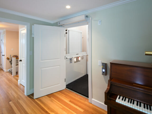 open non-standard lift door in living room
